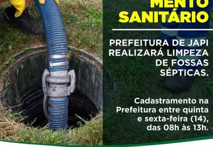 Prefeitura de Japi disponibilizará serviço de limpeza de fossas sépticas.