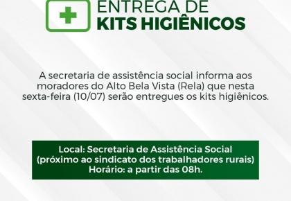 Secretaria de Assistência Social entregará mais de 400 kits higiênicos.
